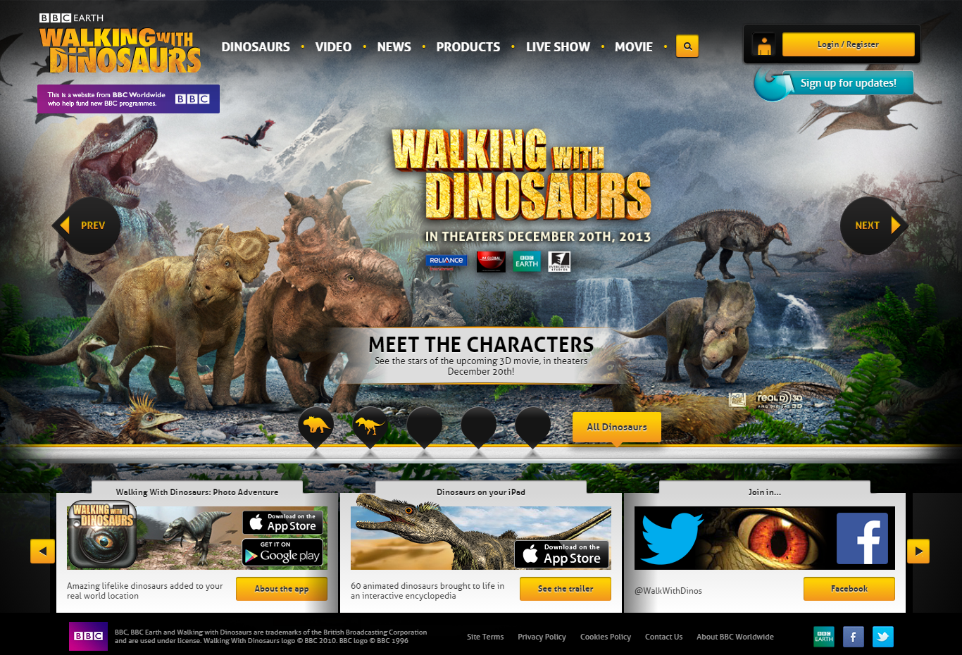 Walking with Dinosaurs website screenshot