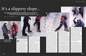 Urban ice climbing feature, Voyager magazine