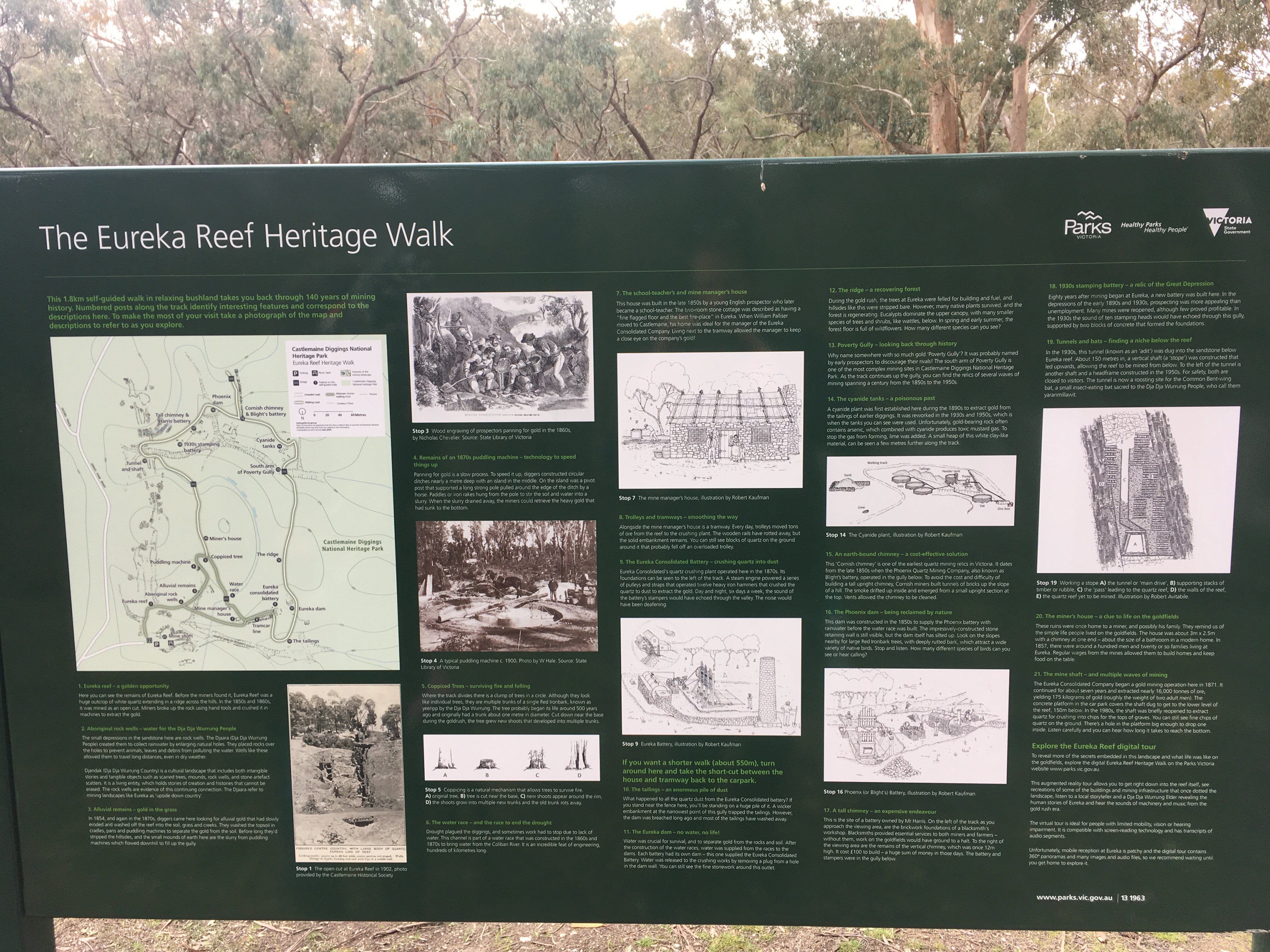 Information board at Eureka Reef showing history of the goldmine and a map of the walk