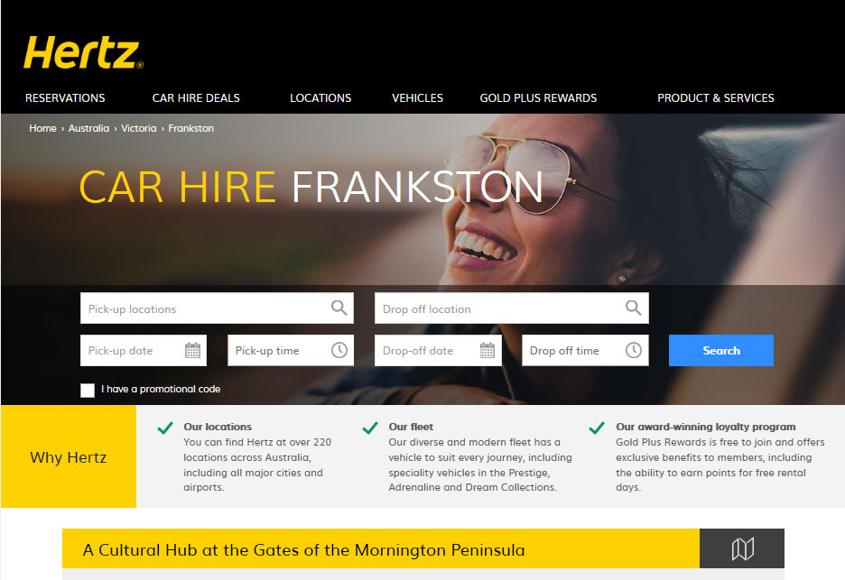 Screengrab of a Hertz webpage for Frankston