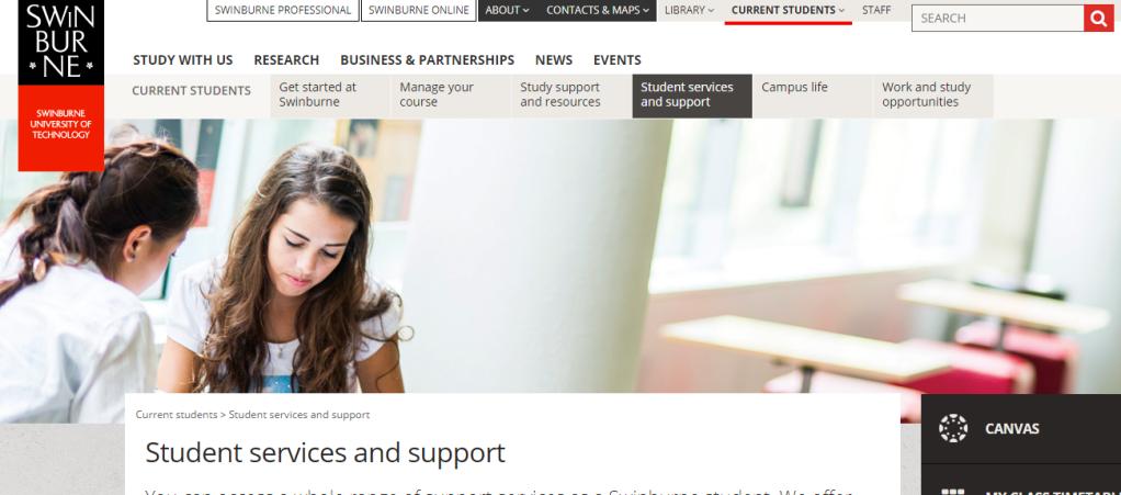 Swinburne website screengrab
